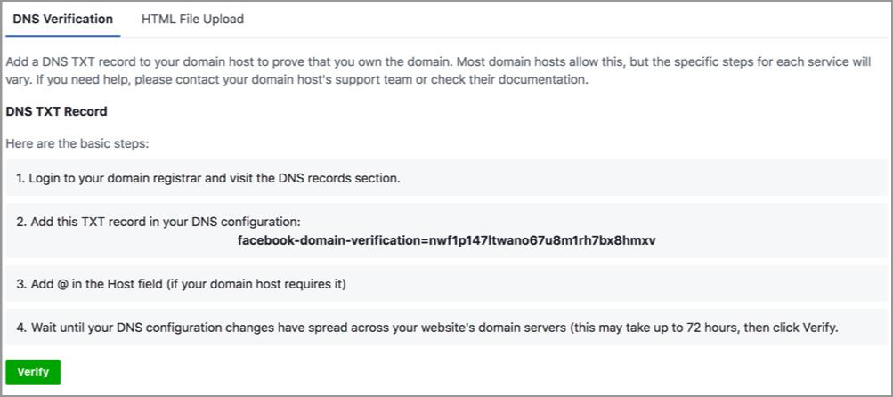 DNS Verification за проверка на собствеността на домейн и активиране на INFO бутона на сайта във Facebook