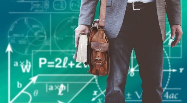 STEM човек с учебник